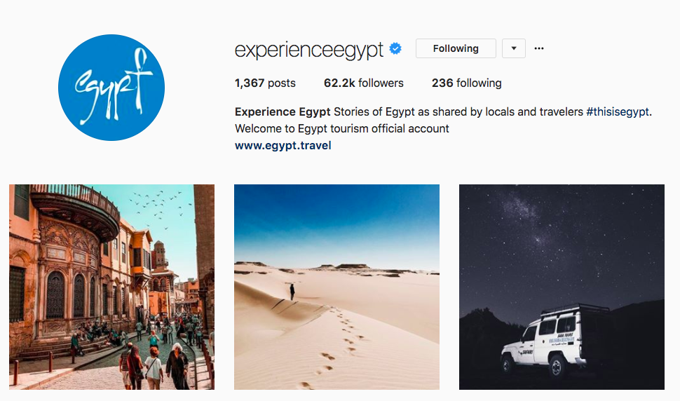 Experience Egypt Account on Instagram