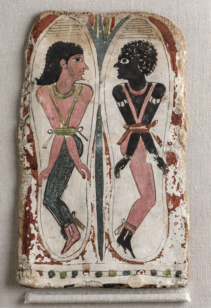 The sole of a mummy case with a bound Syrian and Nubian (Obj no. 2327/1 - photo: Federico Taverni and Nicola Dell'Aquila/Museo Egizio)