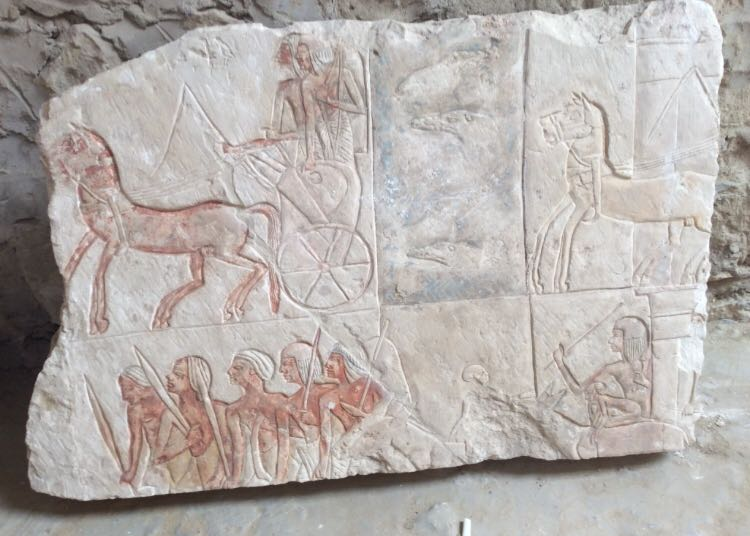 One of many reliefs discovered belonging to the Ramesside tomb of Iwrkhy at Saqqara (Photo: Ministry of Antiquities)