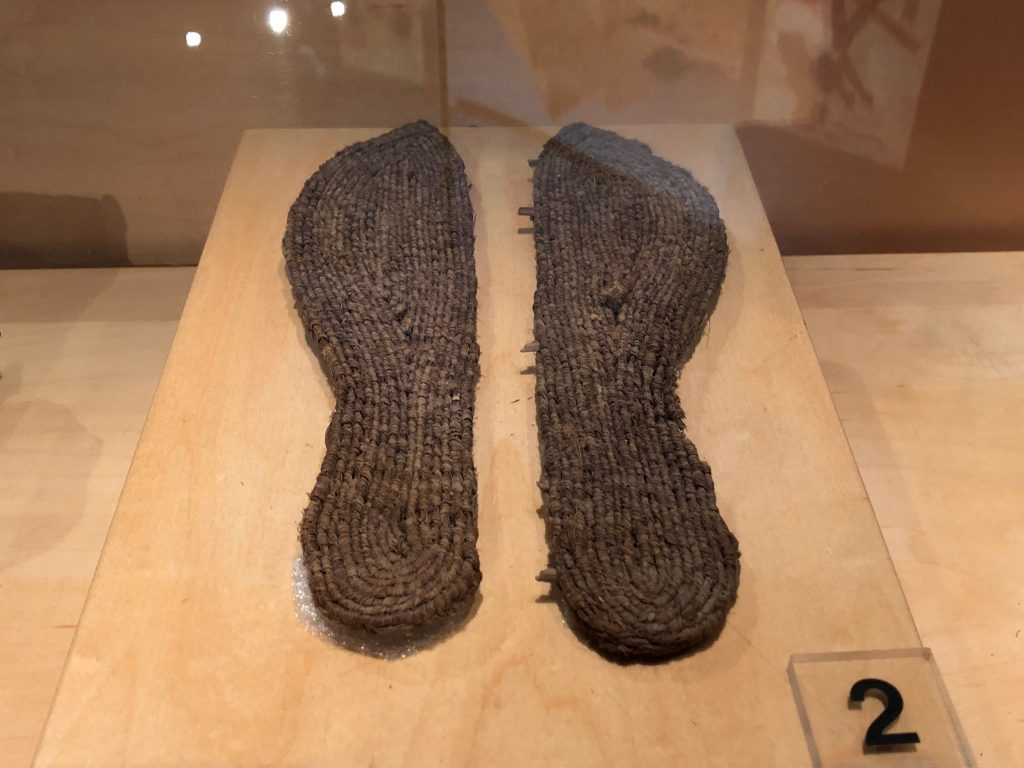 Two sandals without straps made of basketry (Obj. No. P84.3 - Provenance unknown)