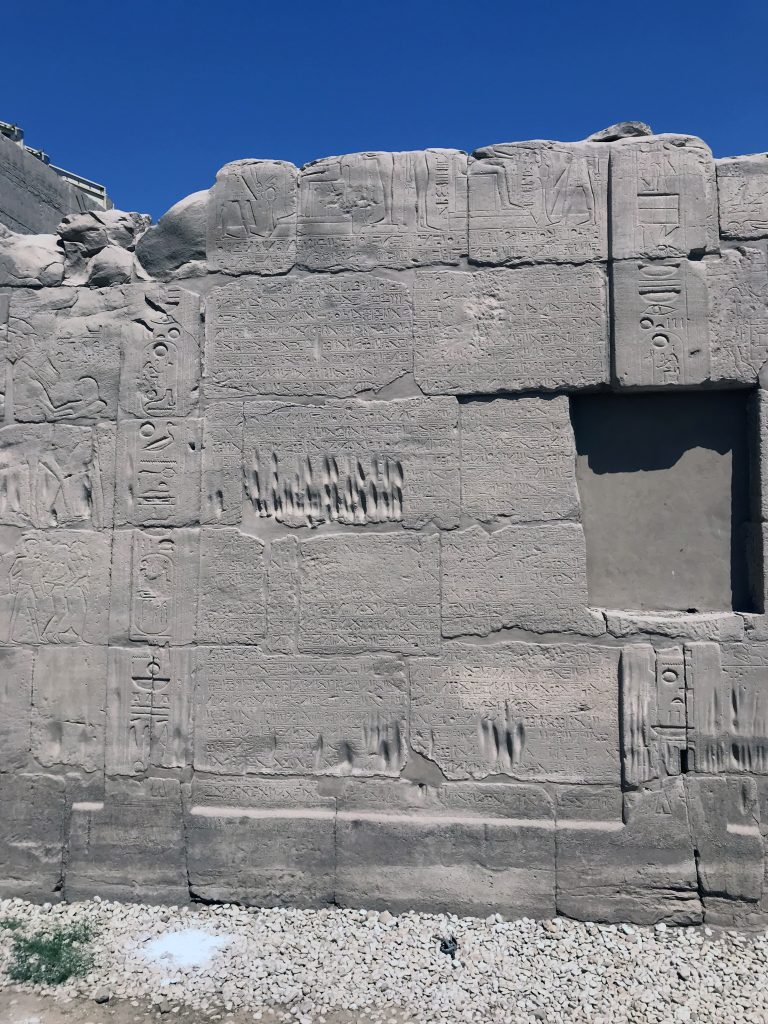 The well-known peace treaty between the Egyptians and Hittites is engraved within the Cachette Court (photo: Nile Scribes)