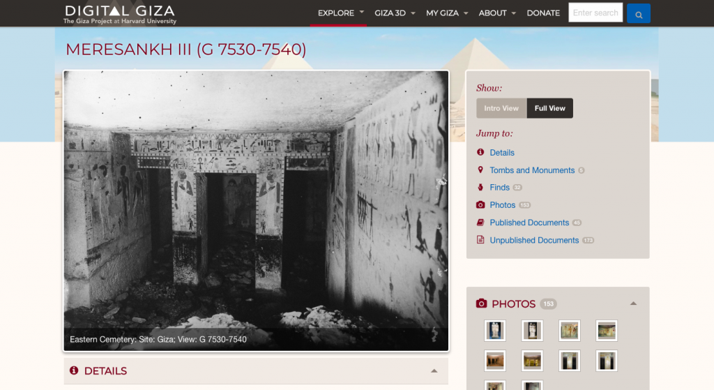 Digital Giza is a great archival tool to find out about objects, architecture, and scholarship at Giza (Screenshot)