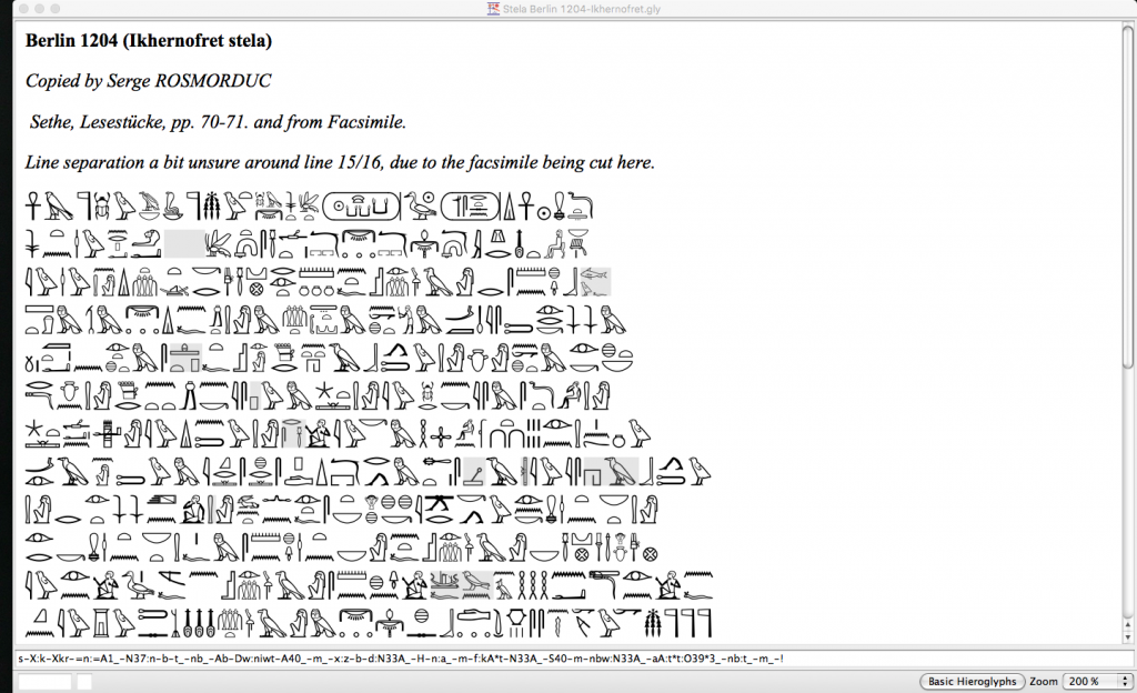 JSESH includes many pre-typed inscriptions that can easily be used in teaching (Screenshot)
