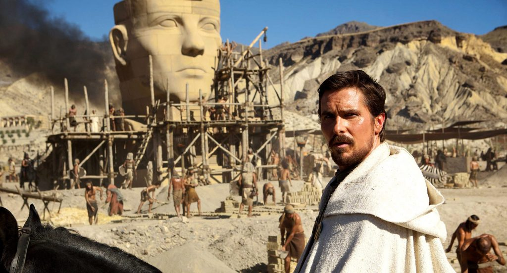 Christian Bale as Moses visiting Pithom under construction (photo: Promotional photo)