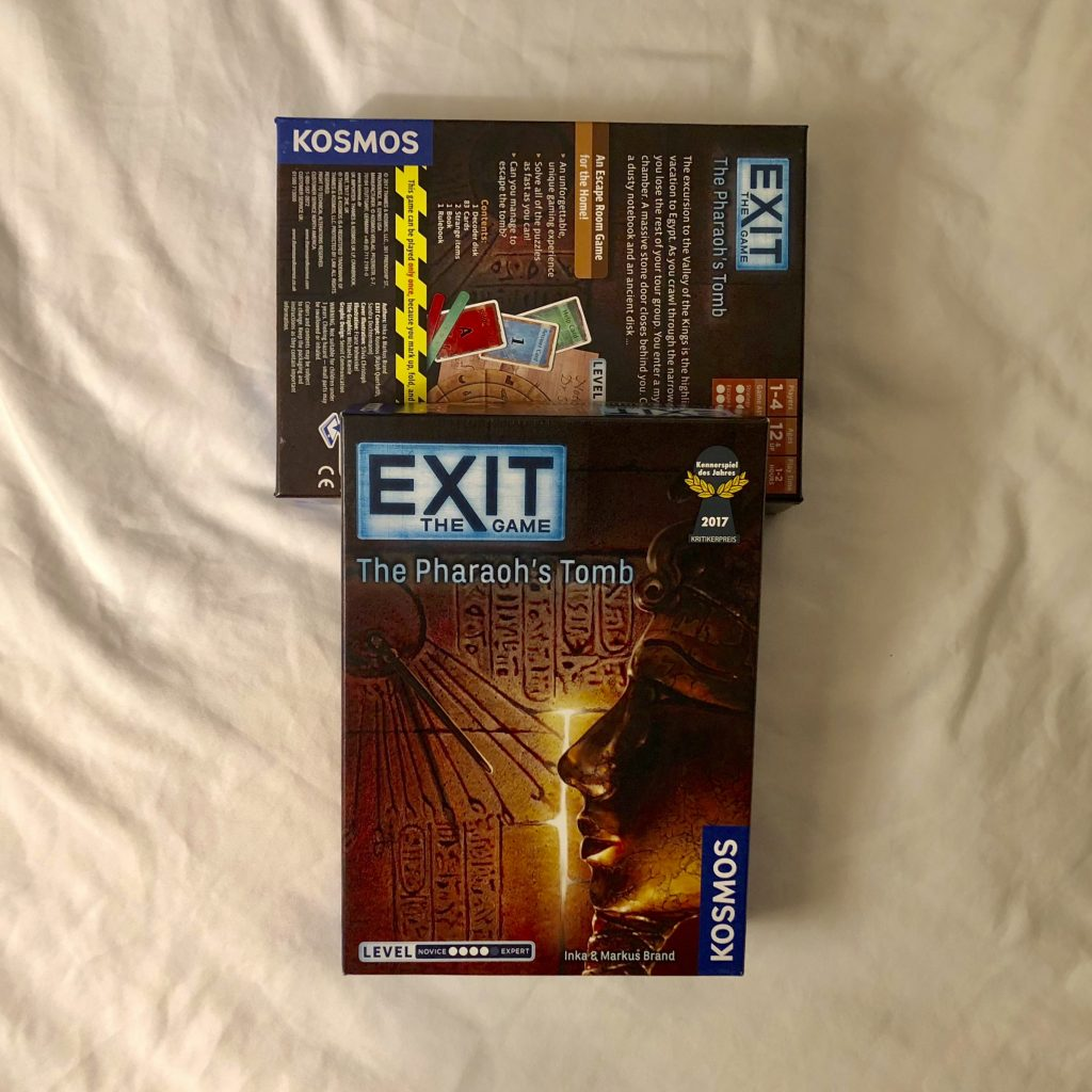 EXIT: The Pharaoh's Tomb game box (photo: Nile Scribes)