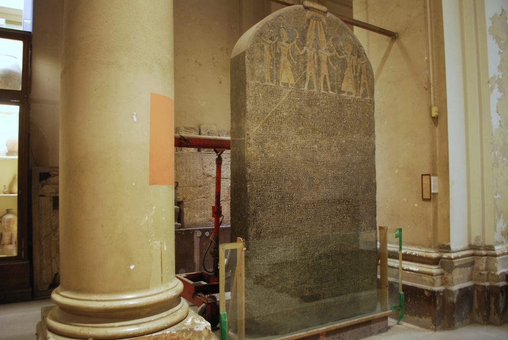 The famous stele of Merneptah also appears in the documentary as the only Egyptian text containing a name that might refer to the Israelites (photo: Nile Scribes)