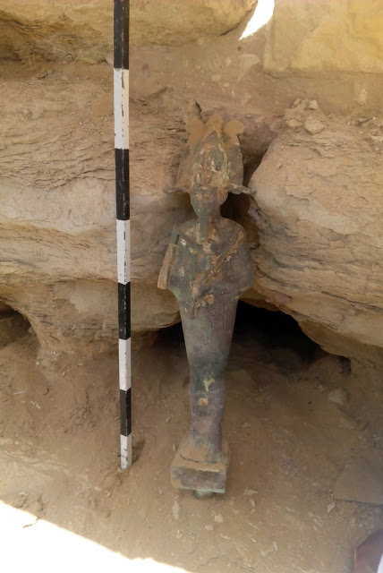 This bronze statue was found on the western façade of the step pyramid at Saqqara (Photo: Ministry of Antiquities)