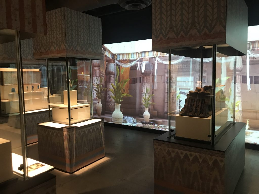 Display cases are designed with colourful motifs drawn from Egyptian art (photo: Nile Scribes)