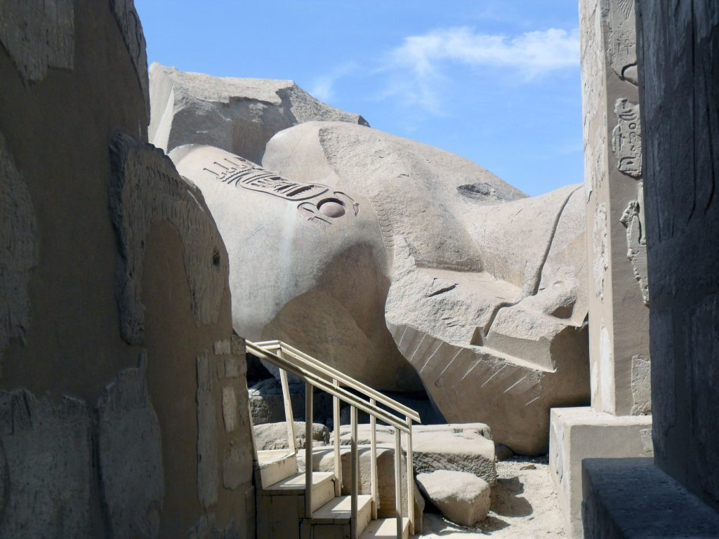 Ramesses II was a prolific builder and his monumentality can be seen in the gigantic statue that tumbled over at his mortuary temple (photo: Nile Scribes)