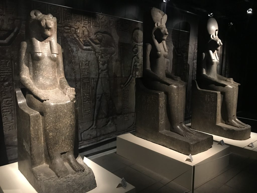 Three Sekhmet statues from the reign of Amenhotep III greet the visitor in the temple display (photo: Nile Scribes)