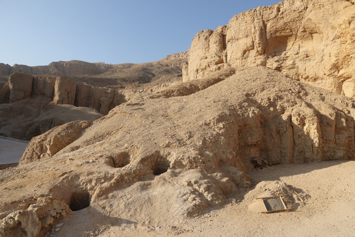 The three tombs which once contained the mummies of monkeys and other animals as rediscovered in 2017 (photo: Don Ryan)