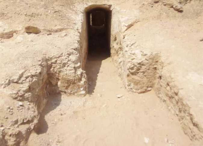 The entrance to a tomb that is among a new cemetery            discovered at Lisht (Photo: Egypt Independent)
