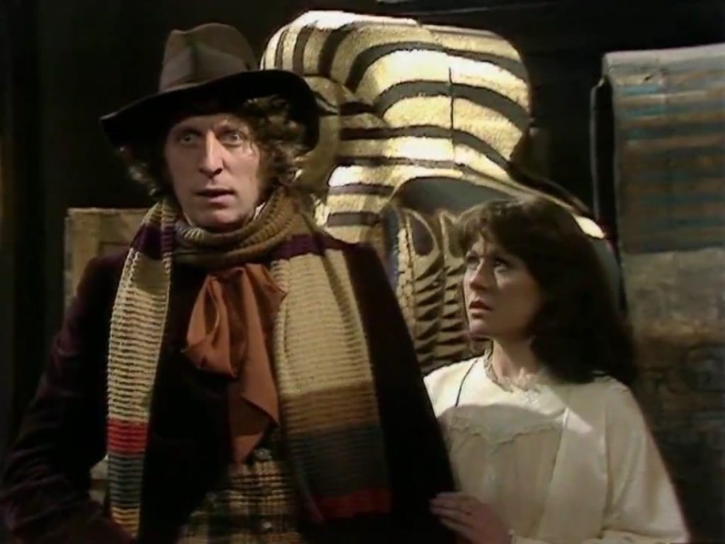 The Doctor (Tom Baker) and Sarah (Elisabeth Sladen) find little opportunity for levity as Sutekh attempts to break free from his ancient bonds (Photo: BBC)