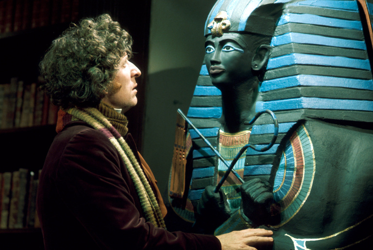 An Egyptian coffin acts as a portal between the manor and Sutekh's tomb (photo: BBC Archives)