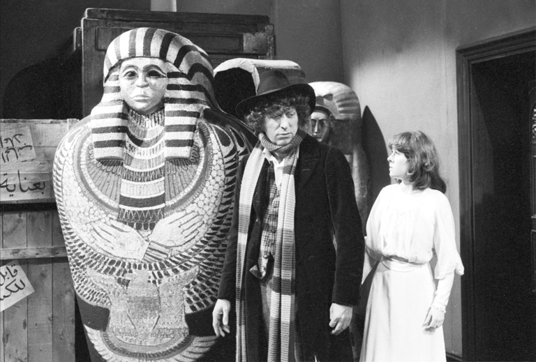 Tom Baker and Elisabeth Sladen star as The Doctor and his companion, Sarah Jane Smith, respectively in Pyramids of Mars(photo: BBC Archives)