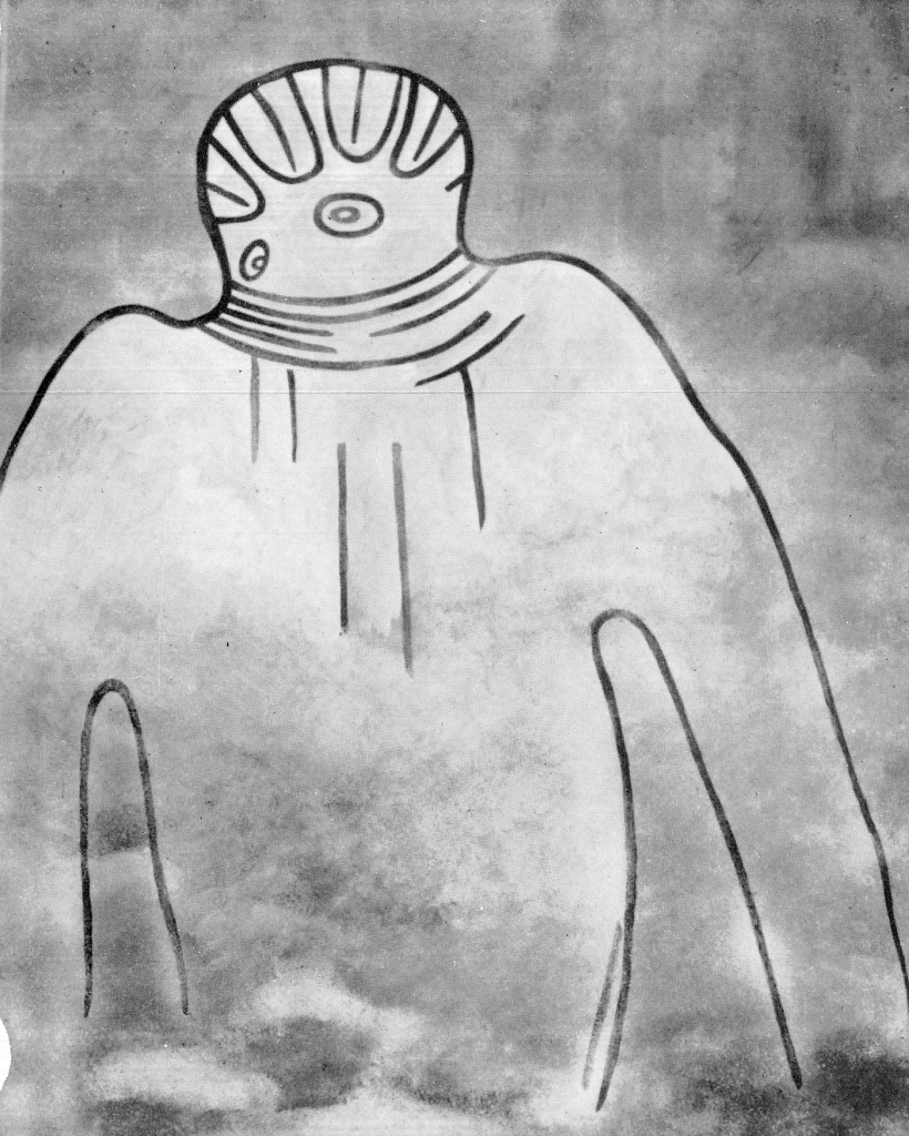 "Explorer Henri Lhote refered to this drawing as the ""Great Martian God"" (photo: Lhote 1973, fig. 21)"