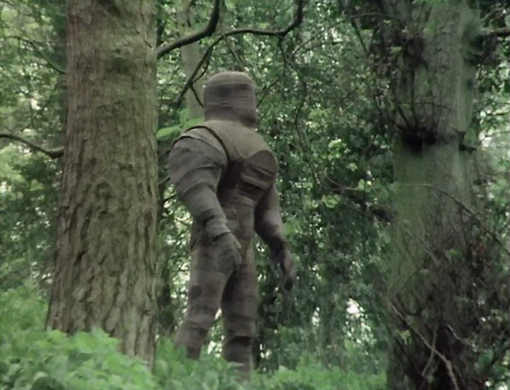 One of Sutekh's service robots searches the priory grounds for intruders (Photo: BBC)