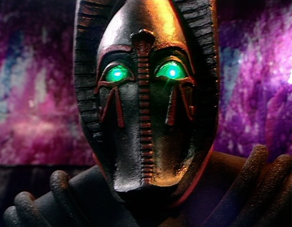 Using the power of his mind, Sutekh prepares to shred the Doctor's nervous system (Photo: BBC)