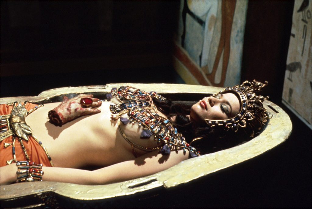 Queen Tera (Valerie Leon) in BLOOD FROM THE MUMMY'S TOMB (UK, Seth Holt, 1971), Hammer's adaptation 'The Jewel of Seven Stars.' (Photo: EMI)