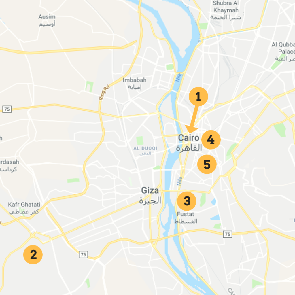 Map of Cairo - Google Maps. Adapted by Nile Scribes.