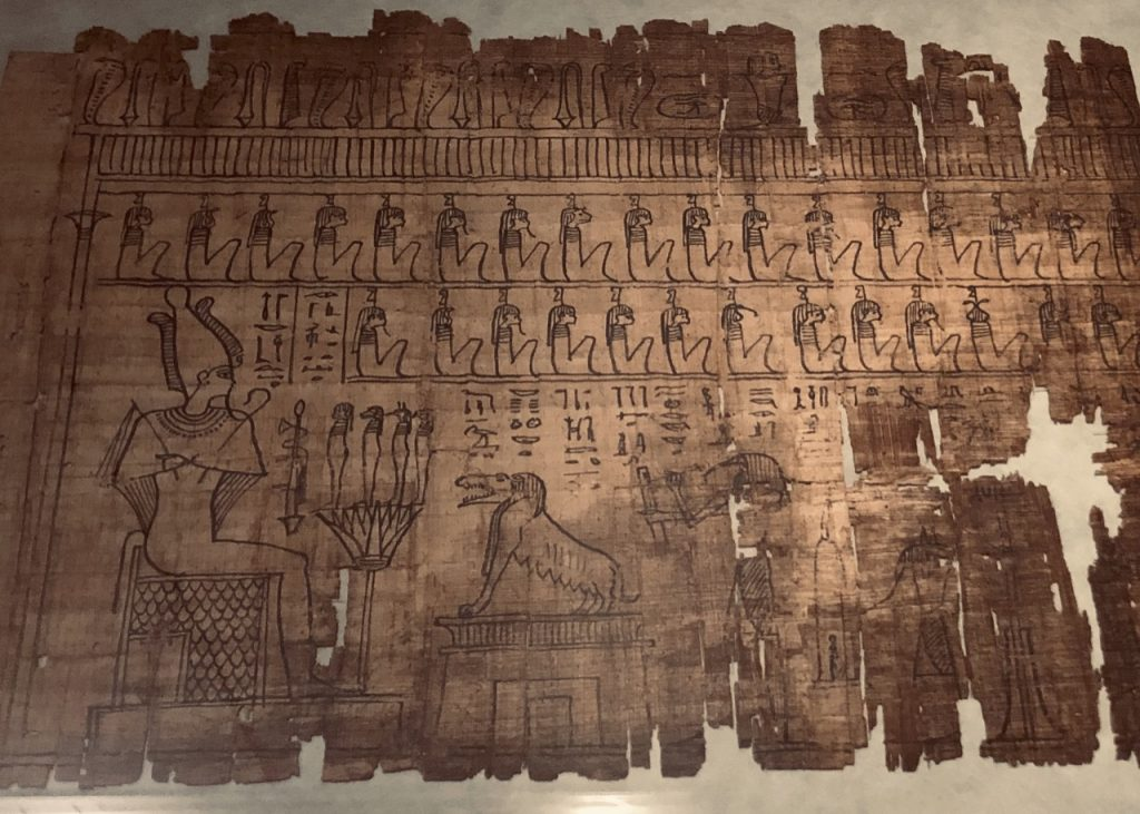 A Ptolemaic papyrus shows Osiris on the left with the judgment scene in full swing before him (Photo: Nile Scribes)