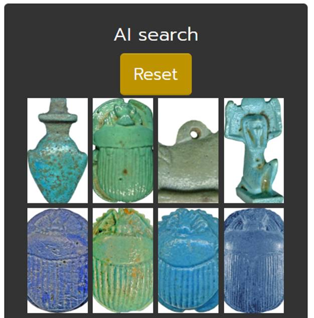 From within a list of scarabs, users can then employ the AI searchfunction to find similar objects (Photo: cleo.aincient.org)