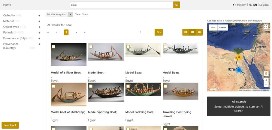 Users can further refine their search by finding similar objects using the AI searchfunction (Photo: cleo.aincient.org)