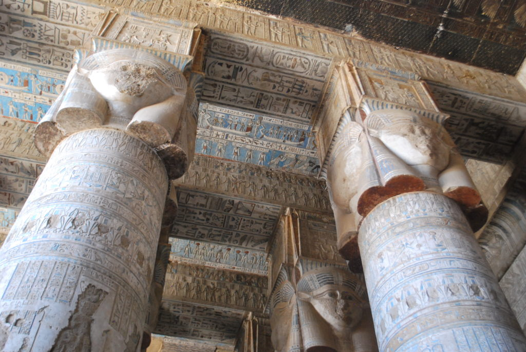 The recently cleaned ceiling of the Hathor Temple is a highlight along with the Hathor sistrum columns (Photo: Nile Scribes)