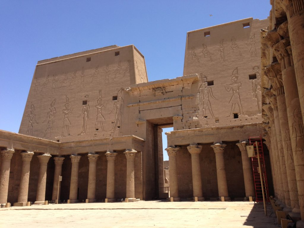 Edfu's first pylon viewed from behind inside the Open Court (Photo: Nile Scribes)