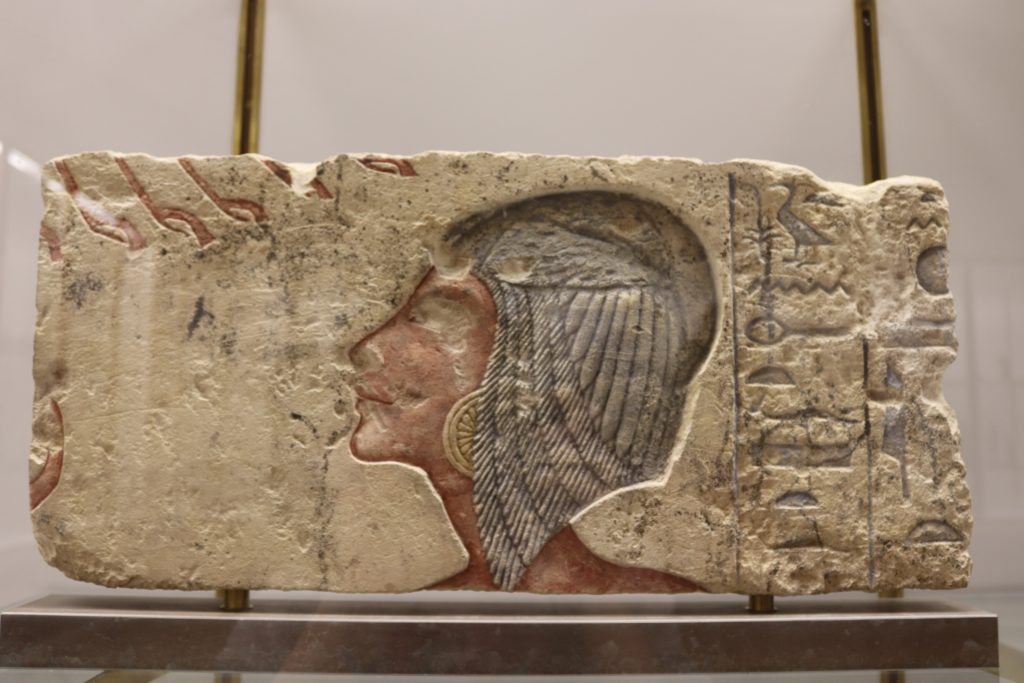 Painted limestone relief showing Kiya worshipping the Aten, remodelled to depict the princess Meryetaten, c. 1365–1347 BC (Photo: Katherine Piper)