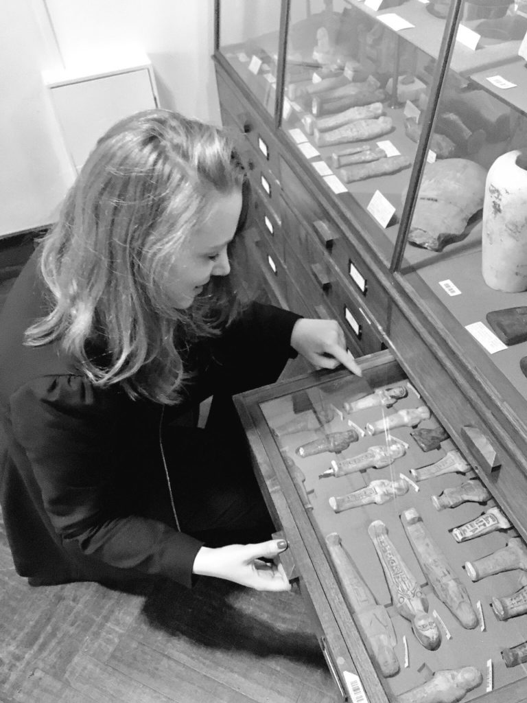 Dr. Angela Stienne at her favourite museum in London: the Petrie Museum of Egyptian Archaeology (photo: Dr. Angela Stienne)