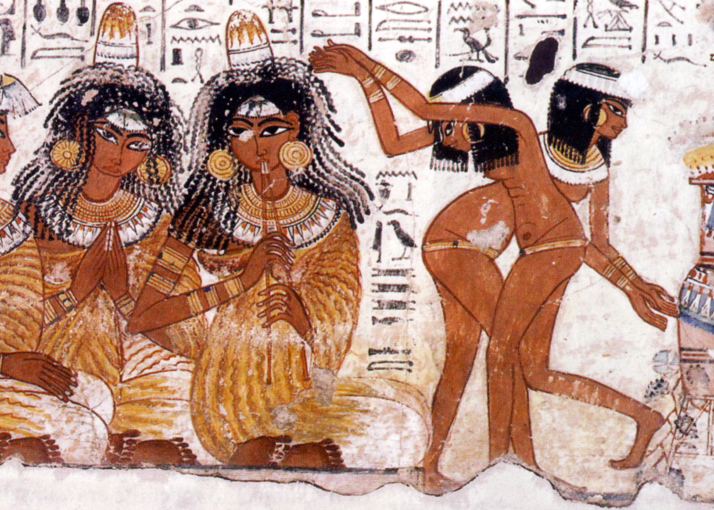 Feasting scene showing musicians and dancers from the Eighteenth Dynasty tomb of Nebamun in Thebes (photo: WikiMedia)