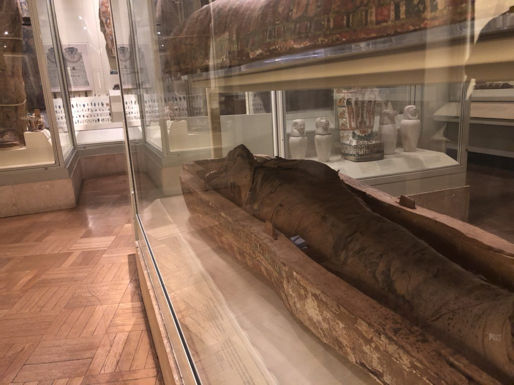"""The case of Egyptian mummies is a very                      interesting one because there is such a long and                      fascinating history of engagements with Egyptian                      mummies throughout history."" (Photo of the                      mummies section of the ROM's Egyptian Gallery -                      photo: Nile Scribes)"