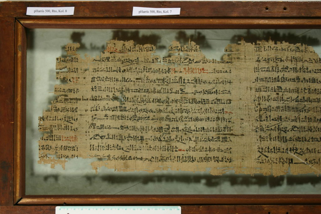 Papyrus Harris 500 which is housed today in the British            Museum (photo: © Trustees of the British Museum)