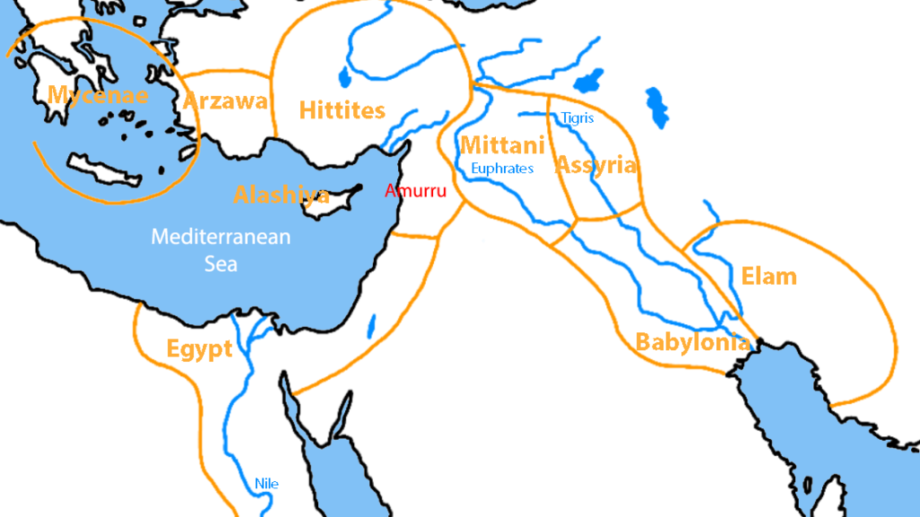 The eastern Mediterranean in the time of Akhenaten, when the area under Mittani control would slowly be carved up between the Hittites and Assyrians (1). Note also the general location of Amurru in the northern Levant.