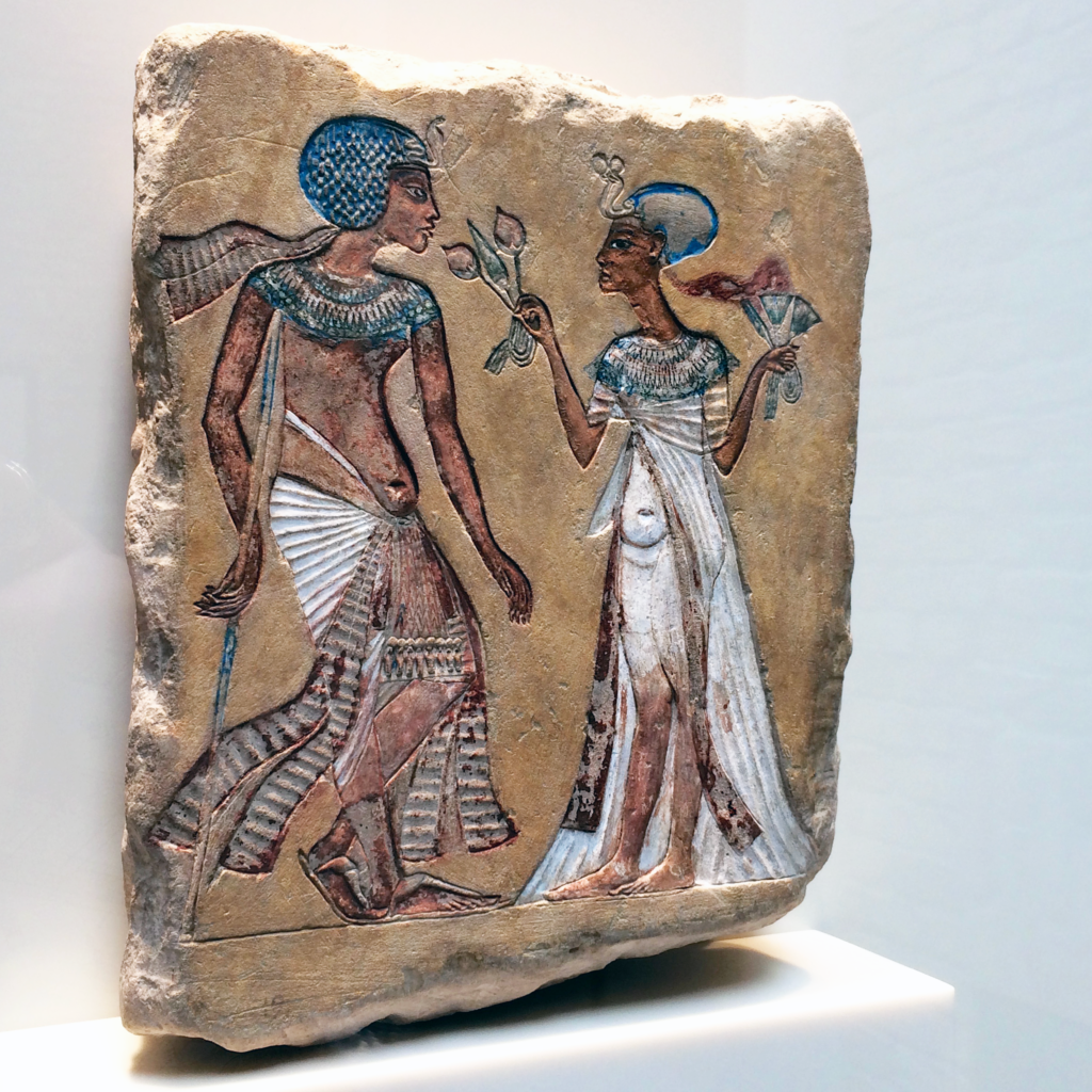 This relief of a royal couple dating to the Amarna Period shows the more peaceful nature of life in an Egyptian palace (photo: Nile Scribes)
