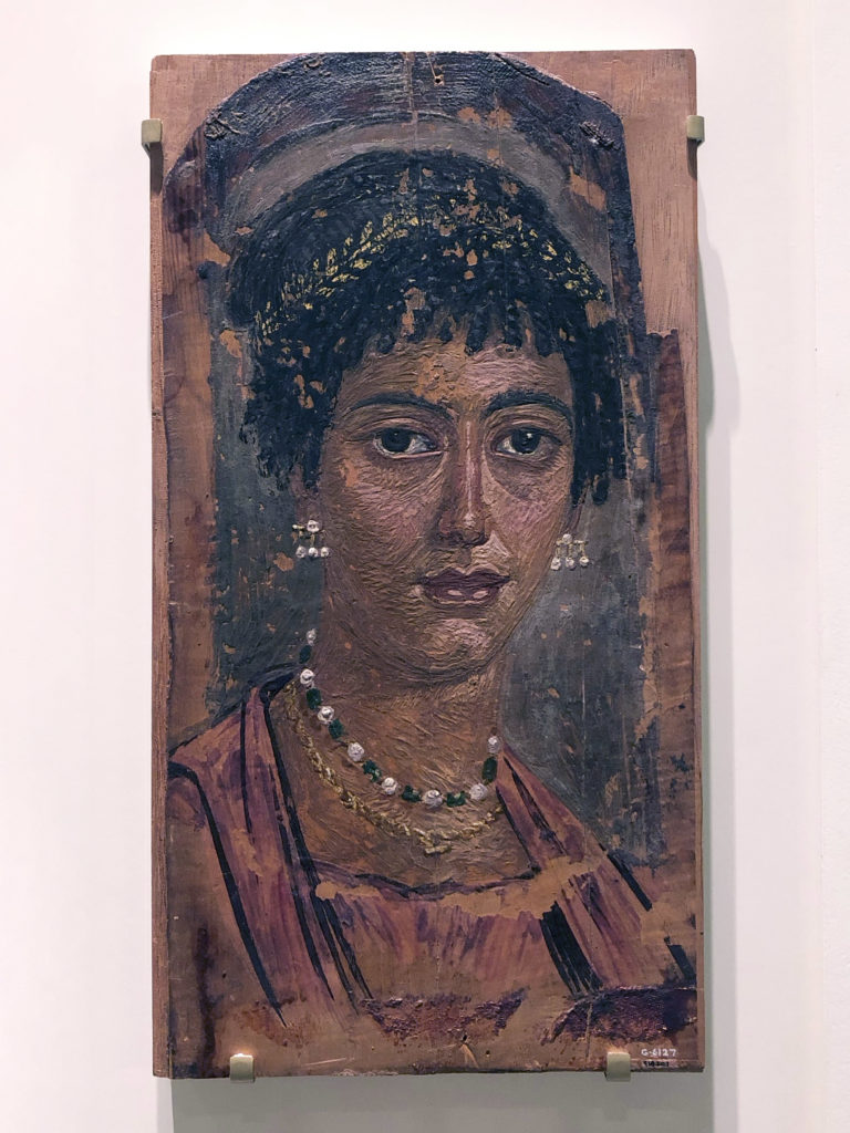 This portrait of a young woman shows some cloth markings above the forehead and at the bottom (Accession no. 918.20.1 - Royal Ontario Museum) (Photo: Nile Scribes)