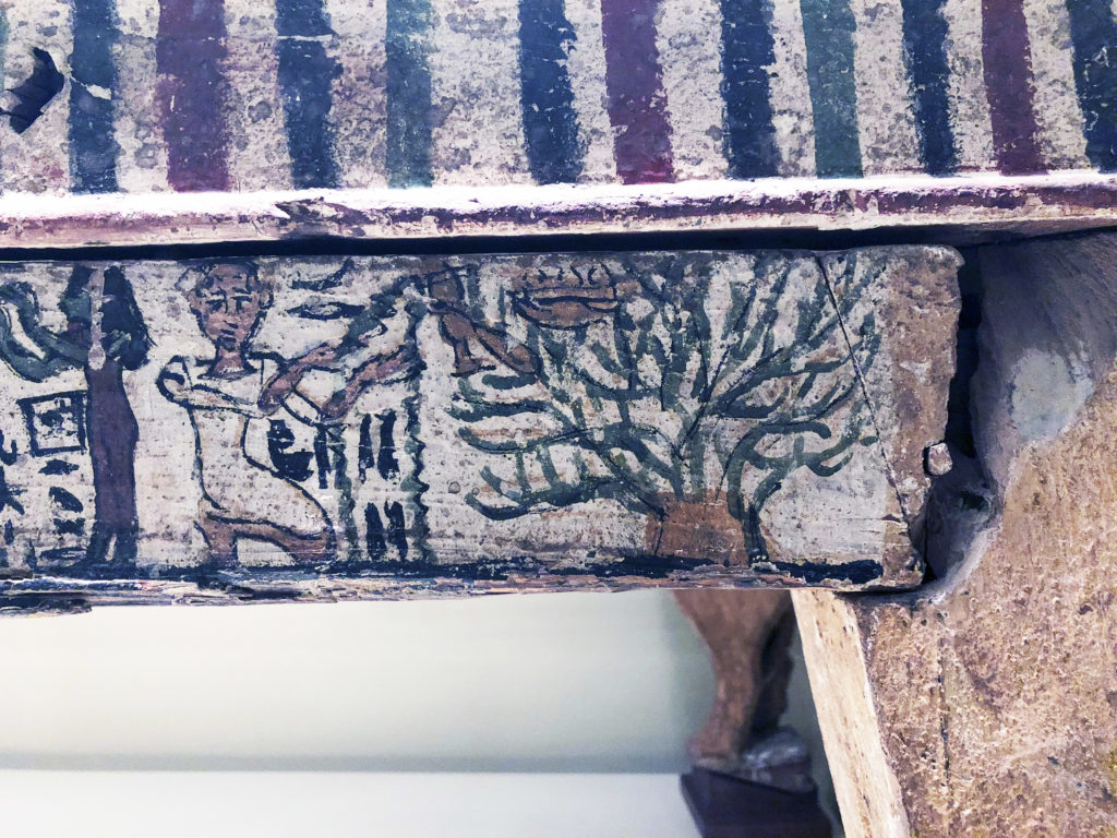 The funerary bed of Herty shows two cultural traditions: on the left, the deceased is shown in Roman clothing before an anthropomorphized tree goddess, an Egyptian motif (Accession no. 910.27 - Royal Ontario Museum) (Photo: Nile Scribes)