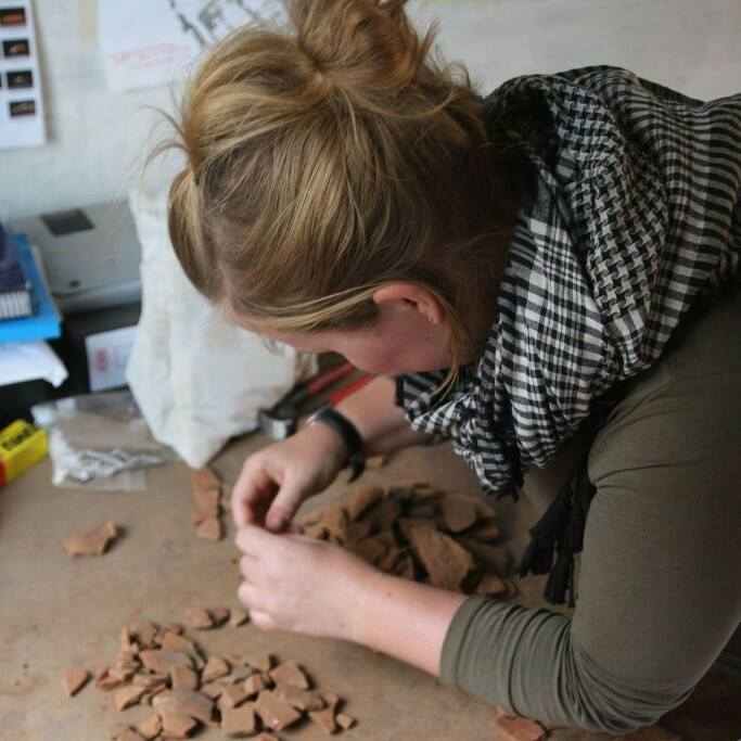 Dr. Anna Garnett working as a ceramicist at Amara West            (Photo: Anna Garnett)