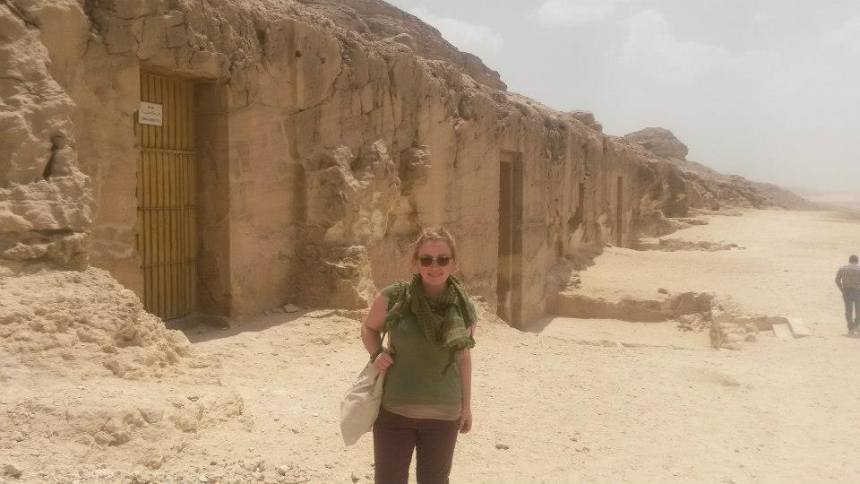 Dr. Anna Garnett on a visit to the tombs at Beni Hasan            (Photo: Anna Garnett)