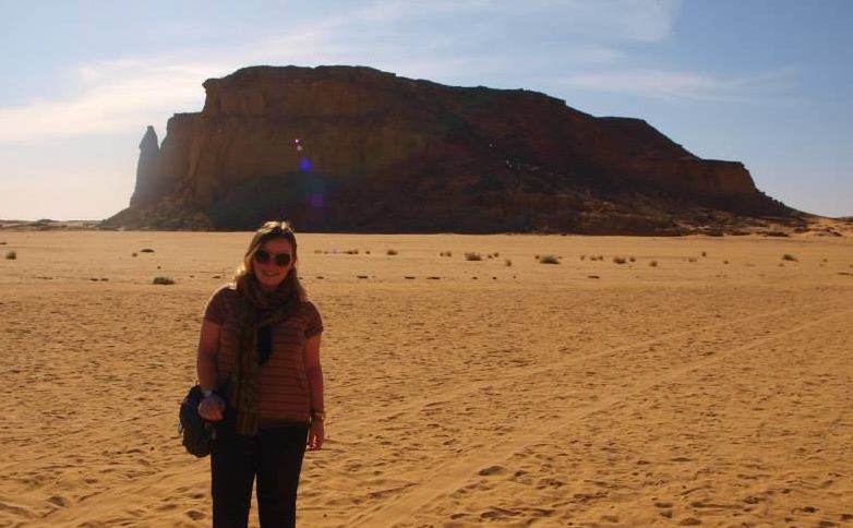 Dr. Anna Garnett on a visit to Gebel Barkal (photo: Anna            Garnett)