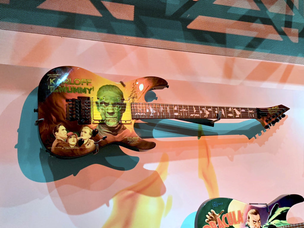 One of Kirk Hammett's customised guitars features designs from the 1932 cult-classic The Mummy and also has a hieroglyphic inscription running along the fretboard (Photo: Nile Scribes)