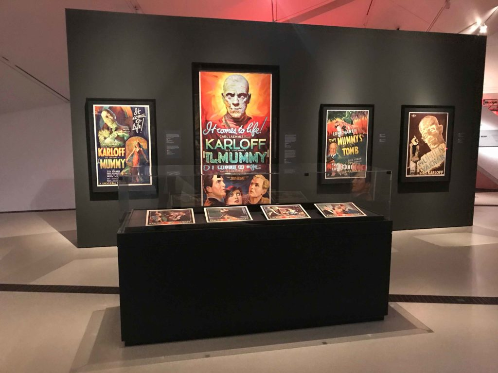The famous 1932 poster of the cult-classic The Mummy hangs at the centre with Boris Karloff in the role of the Egyptian high priest Imhotep (on the far right the Swedish version of the poster). To the right hangs the poster of The Mummy's Tomb (1942) featuring Lon Chaney as the mummy Kharis (Photo: Nile Scribes)