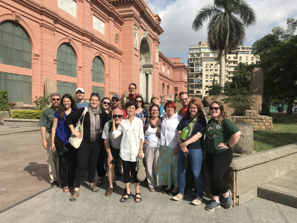 The Scribes on the Nile 2019 Tour group outside the Egyptian Museum (Photo: Nile Scribes)