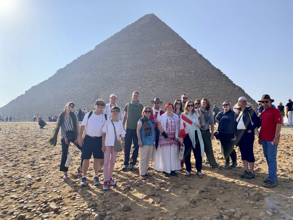 TheScribes on the Nile2019 Tour Group at Khufu's Pyramid in Giza (Photo: Nile Scribes)