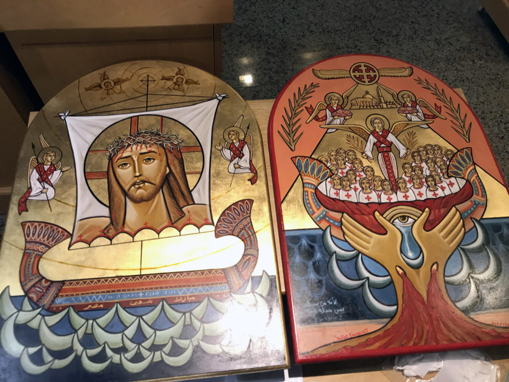 "On the left is the icon of ""Blessed is Egypt                  My People"" written by Victor Fakhoury and on the                  right is his ""The Martyrs of Maspero"" (both                  2011)"
