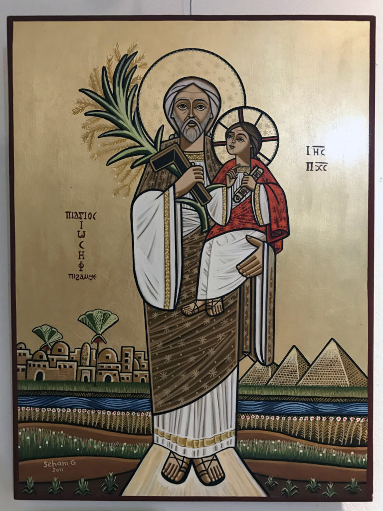 A Neo-Coptic icon showing St. Joseph and the Divine                  Child (2011), written by Seham Guirguis and in the                  Coptic Museum of Canada collection